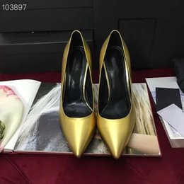 leather low cut dress 2019 - 2019 Classic High Heel Pumps in Patent Leather with Structural Metal Interlocking Brand Signature Heel and Low-cut Vamp,