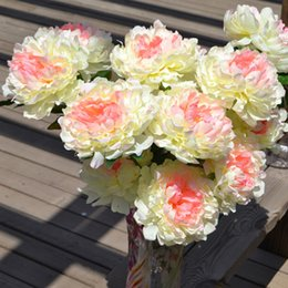 Real Fake Flowers Australia - Penoy Artificial Flowers 8 Heads White Peonies Silk Real Touch Fake Flower Wedding Decoration for Home Garden Floral Bouquet
