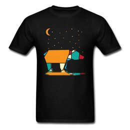 $enCountryForm.capitalKeyWord UK - Design Lonely Bear T-shirts Men Black T Shirt Geometric Animal Print Tshirt O Neck Cotton Tops Cartoon Tees Slim Fit Clothing