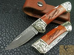 titanium copper knife NZ - Hand made DK033 DAMASCUS folding knife hand made DAMASCUS Blade Copper + Rosewood handle High quality with leather sheath