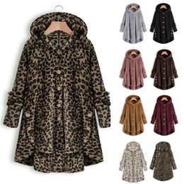 fur hoodies for women UK - Women Outwear Sherpa Fleece Overcoat Irregular Button Long Coats Fur Hoodies Overall Jacket Fashion Leopard Coat Winter Tops for Mom C92710