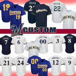 ed9a3aa9162 Brewers jerseys online shopping - 22 Christian Yelich Milwaukee Custom Brewers  Baseball Jersey Robin Yount Lorenzo