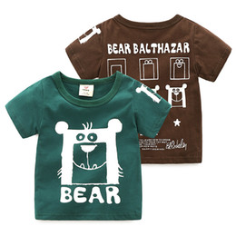 Wholesale 2019 Summer Years Cartoon Bear Children S Clothing Short Sleeve O Neck Baby Kids Boy Cotton Cartoon Letter Animal T Shirt