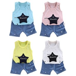 $enCountryForm.capitalKeyWord Australia - Summer Children Baby Boys Casual Sleeveless Star Print Vest Tops+Shorts Suits Costume Set
