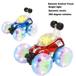 car spinning Australia - RC Rolling Stunt car Invincible Tornado Twister Remote Control Truck 360 Degree Spinning Flips LED Color Flash Music scale cars