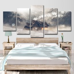 $enCountryForm.capitalKeyWord Australia - HD Printed 5 Piece Canvas Painting House Snow Forest Sunshine Artwork Living Room Decor Posters and Prints Free Shipping