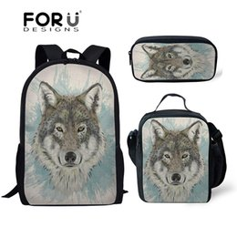 $enCountryForm.capitalKeyWord Canada - FORUDESIGNS 3pcs set Children Primary School Bags for Kids Boys Wolf 3D Printing Shoulder Backpack Teenagers Schoolbag Book Bags