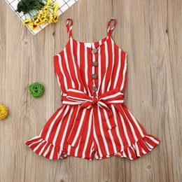kids red white blue tutu NZ - 3-8Years Kid Girls Striped Jumpsuit Summer Girls Sleeveless Overalls Playsuit Children Costumes Red Black Blue