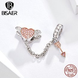 angels metal beads Australia - ewelry & Accessories BISAER Safety Chain 925 Sterling Silver Cupid Arrow & Angel Heart Charms Beads fit Girlfriends Bracelets Silver Jewe...