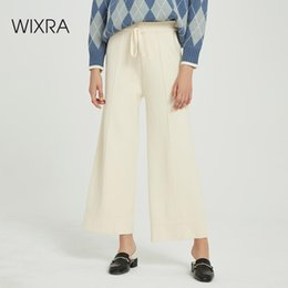 Wholesale black wide leg formal pants resale online – Wixra Casual Women s Knitted Wide Leg Pants Loose High Waist Lace up Warm Thick Trousers Autumn Winter Ladies Bottom Y200113