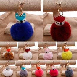 $enCountryForm.capitalKeyWord Australia - Free DHL High Quality 13 Colors Faux Rabbit Fur Ball Fox Head Keychains Fluffy Charm Keyrings Car Key Rings Women Bag Pendant Keyfob G253Q F