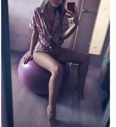 Wholesale two lingerie online – Plus Size Lingerie Sleepwear Woman Size Plus Summer Fashion Women Pajamas Collar Sleepwear Two Piece Striped Casual Pajama Sets