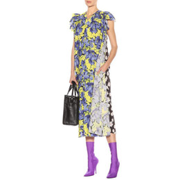 573dca99416 SleeveleSS chiffon midi dreSS online shopping - Printed Sleeveless Dress  Female V Neck Ruffles Patchwork Midi