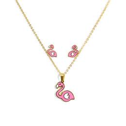 Cute Jewelry For Sale NZ - Hot Sale Cute Sweet Pink Bird Necklace Earring Animal Jewelry Sets Cartoon Horse Jewellery Set For Girls