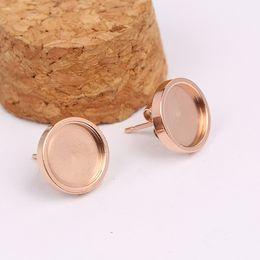 Base for earrings online shopping - shukaki stainless steel rose gold fit mm cabochon stud earring base blanks diy bezel settings for earrings jewelry making