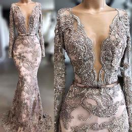 Wholesale black lace dres resale online – Dubai Arabic High Quality Lace Mermaid Evening Dress Long Sleeves Plunging Neckline Hand Make Beaded Sheer V Neck vestido de noiva Prom Dres