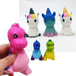 Novo Céu Estrelado Dinossauro Squishy Unicorn Squeeze Crianças Toy Presente Lento Rising Anti Apaziguador do esforço Engraçado Pão Bolo Decoração venda por atacado