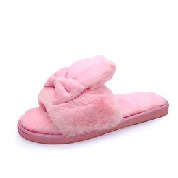 $enCountryForm.capitalKeyWord NZ - Winter Women Home Slippers with Faux Fur Warm Shoes Woman Slip on Flats Cute Rabbit Bowtie Female Slides