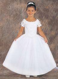 White Communion Dresses Short Australia - 2019 Latest Cheap White Girls Holy Communion Gowns With Short Sleeve Lace Applique Bodice Jewel Neck Holy Communion Dresses For Sale