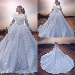 $enCountryForm.capitalKeyWord Australia - 2019 Long Sleeve Wedding Dresses Full Lace Appliqued Gorgeous Chapel Train Bridal Gowns Jewel Neck Plus Size Vintage Wedding Dresses