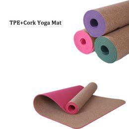 Yoga mat brands online shopping - 5MM Non slip Natural TPE Cork Brand Yoga Mat Antibacterial Bath Carpet Breathable Gymnastics Mats Sports Mats Yoga Exercise Pads