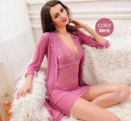 Hot Transparent Suit Australia - Free shipping hot sale Transparent Female Summer and Autumn Sexy Nightwear with Lace Suspender Sleeping Dresses and Nightgowns Suit a035