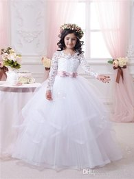 $enCountryForm.capitalKeyWord Australia - 2018 White Flower Girl Dresses for Weddings Long Lace Sleeve Girls Pageant Dresses First Communion Dress Little Girls Ball Gowns Hot Sale