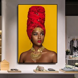 lip canvas art Australia - Black and Gold Woman Oil Painting Sexy Lips Nude African Art Cuadros Posters and Prints Wall Picture for Living Room No Framed