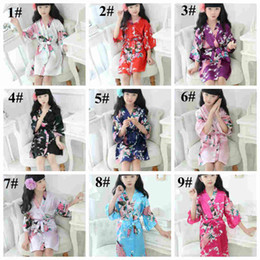 BaBies kimono online shopping - Children Peacock silk Nightgown kids floral Kimono pajams baby girl summer home sleepwear styles total