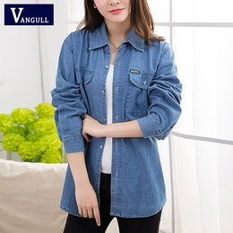thin denim shirt women UK - VANGULL Women Denim Jackets 2019 New Spring Summer Solid BF Style Shirts With Pockets Autumn Female Plus Size Loose Thin Coats