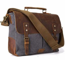 $enCountryForm.capitalKeyWord Australia - Vintage Men's Canvas Messenger Bag Horse Crazy Leather Man Soft Bags School Bag Man's Lock Military Hangbags Messenger Bags