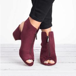 b133b360 Laamei botines de moda de cuero de imitación de gamuza informal abierto  peep toe tacones altos cremallera de goma cuadrado negro zapatos de mujer  tamaño 36- ...