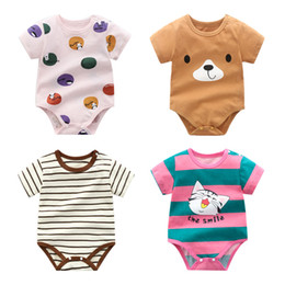 Discount newborn baby boys clothing Infant Baby Striped Rompers 35 Colors Baby Clothes Lemon Printed Newborn Cartoon Onesies Kids Casual Clothes Boys Dinosa