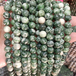 Discount green tourmaline natural stone 4 6 8 10mm Natural Green Dot Stone Beads For Jewelry Making Round Loose Stone Beads DIY Bracelet Necklace Strand 15'
