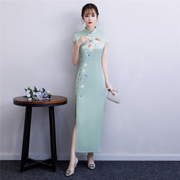 745224887 Shanghai Story Faux Silk Qipao Chinese Traditional dress Chinese Button  Women's Clothing Long Cheongsam Long