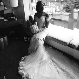 Discount cheap t back wedding dresses - Elegant Country Mermaid Wedding Dresses Scoop Neckline Lace Long Trains Beach Bridal Gowns 2019 Button Back African robe