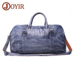 JOYIR Genuine Leather Travel Bags Vintage Men Travel Duffel Bags Large  Capacity Cow Leather Luggage Weekend Tote shoulder 02eba76c9ec2d