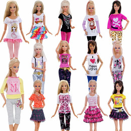 barbie clothing Australia - 1 PCS Handmade Fashion Outfit Short Dress Cartoon Cute Pattern T-shirt Leggings Trousers Accessories Clothes For Barbie Doll Toy