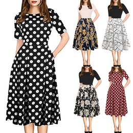clothes puffy Australia - Casual Summer Dress Women Clothes Sexy Fashion Womens Vintage Patchwork Pockets Puffy Swing Print Casual Party Dress Vestidos 42