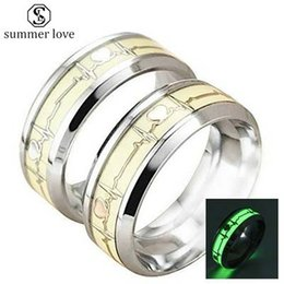 $enCountryForm.capitalKeyWord NZ - New Arrival Luminous Titanium Steel Heartbeat Wedding Rings for Women Men ECG Couple Rings Fashion Jewelry Gift 2019