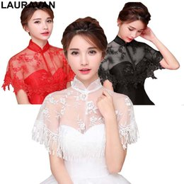 $enCountryForm.capitalKeyWord UK - Autumn Thin Lace High Neck Wedding Accessories Cheongsam Bolero Elegant Short Evening Capes Ivory Black Red Jackets Women