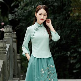 Wholesale qipao skirt for sale - Group buy 2020 Women Qipao Dresses Ancient Chinese Cheongsam Top Embroidery Linen Skirt Vintage Floral Tang Suits Elegant Plus Size Blouse