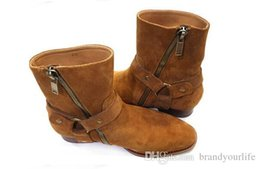 $enCountryForm.capitalKeyWord Australia - New Hot Wyatt Biker Chains Men BootsWestern Boot Flats Stacked Heel Suede Anke Boots Side Zip Men Fashion Boots Plus Size 37-46 Wholesales