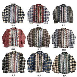 Wholesale spliced shirt for sale – plus size Womens Mens Designer T Shirts Plaid Shirt Needles Vintage Splice Washed Retro Fashion Brand High Street Casual Loose Shirt Long Sleeve