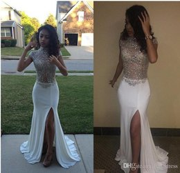 V deep front sexy dresses online shopping - White Prom Dresses Mermaid High Neck Front Split Cap Sleeves Sequins Beading Long African Evening Pageant Party Gowns