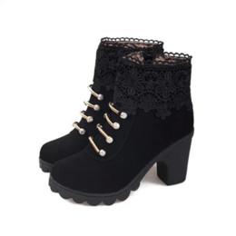 $enCountryForm.capitalKeyWord Canada - Block Heel Fur Booties Warm Buckle Strap High Heels Snow Boots Plus Size Green Brown Black Women Winter Shoes Plush Boot