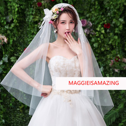 Elbow Length Australia - MAGGIEISAMAZING one layer elbow length short veil for bridal lace Bridal Veils Wholesale REAL PICTURE XTS1903034