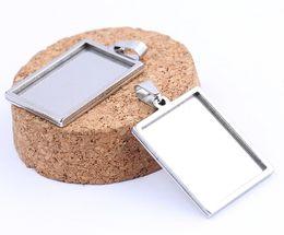 $enCountryForm.capitalKeyWord Australia - Shukaki Rectangle Cabochon Base Settings Blanks 18x25mm Stainless Steel Blank Pendant Trays Diy Jewelry Necklace Bezels