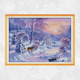 pattern decor NZ - The Forest Snow Patterns F368 DMC 11ct 14ct Counted Chinese Cross Stitch Kits Sale Printed On Canvas for Embroidery Home Decor Needlework