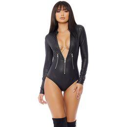 527c028056a Long Sleeve Latex Lingerie Gothic Faux Leather Bodysuit Zipper Fetish Wetlook  PVC Catsuit Erotic Clubwear Plus Size PU